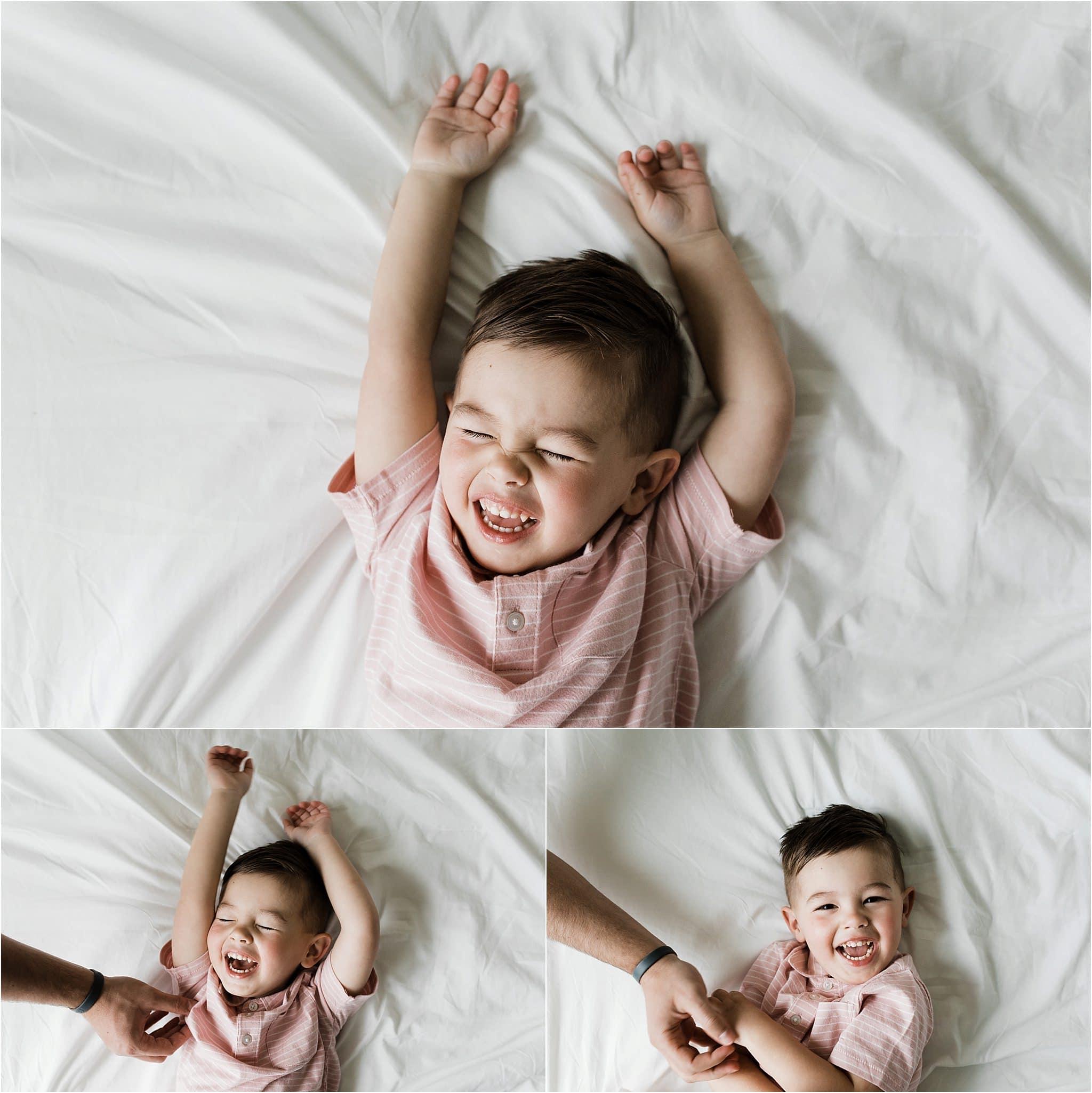 natural photos of laughting toddler boy at home