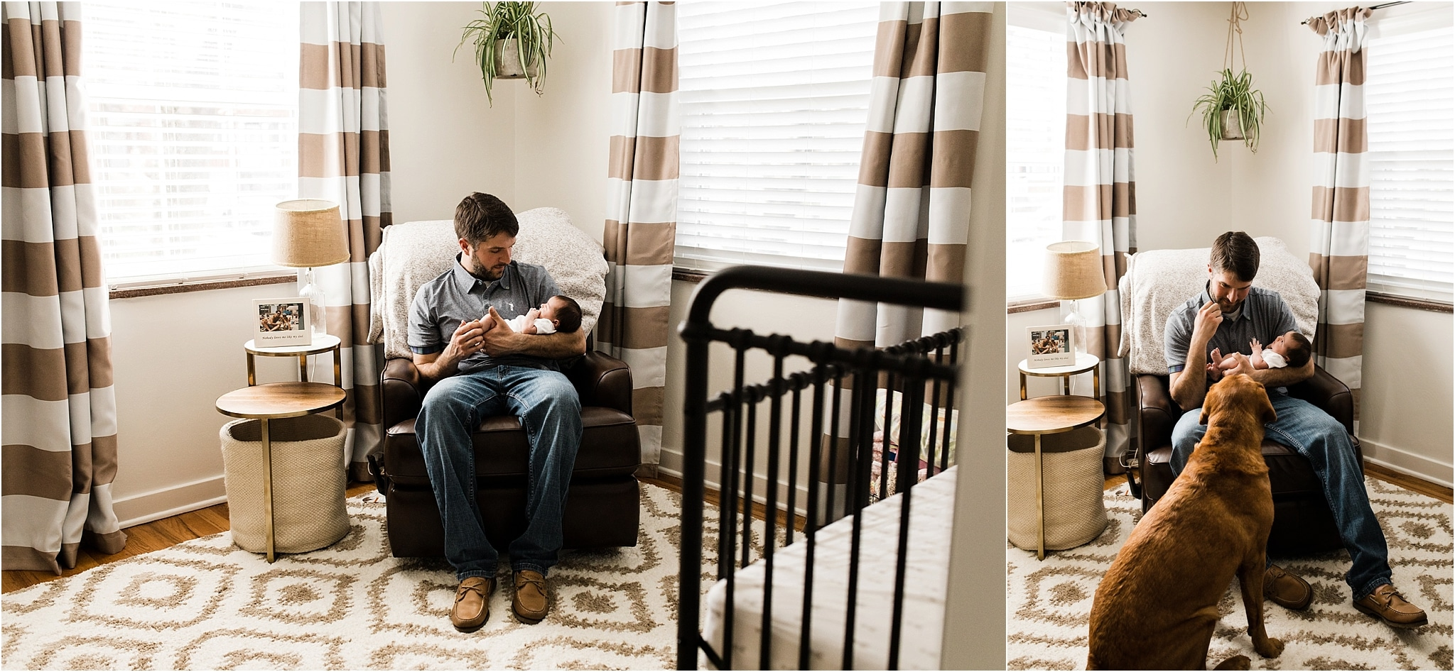 father holding newborn daughter in neutral nursery