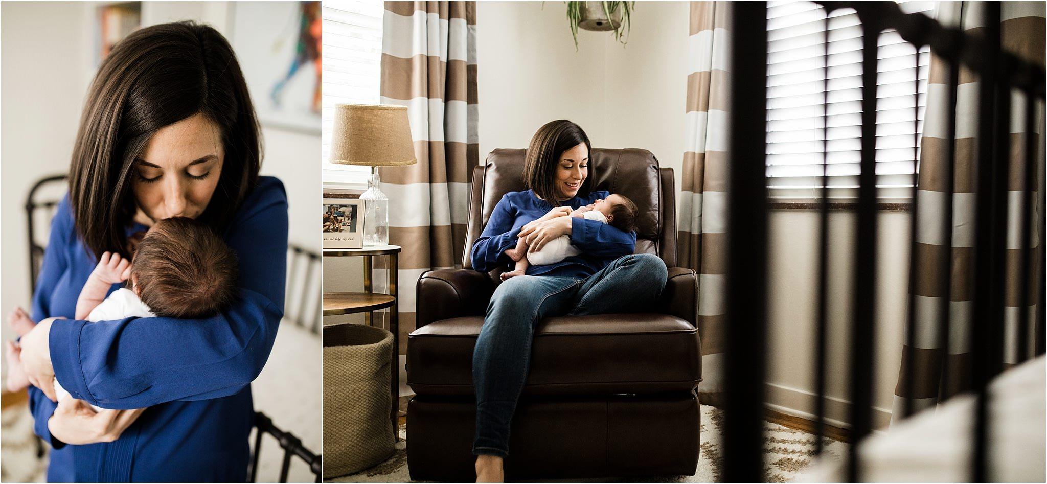 mother holding newborn in neutral nursery