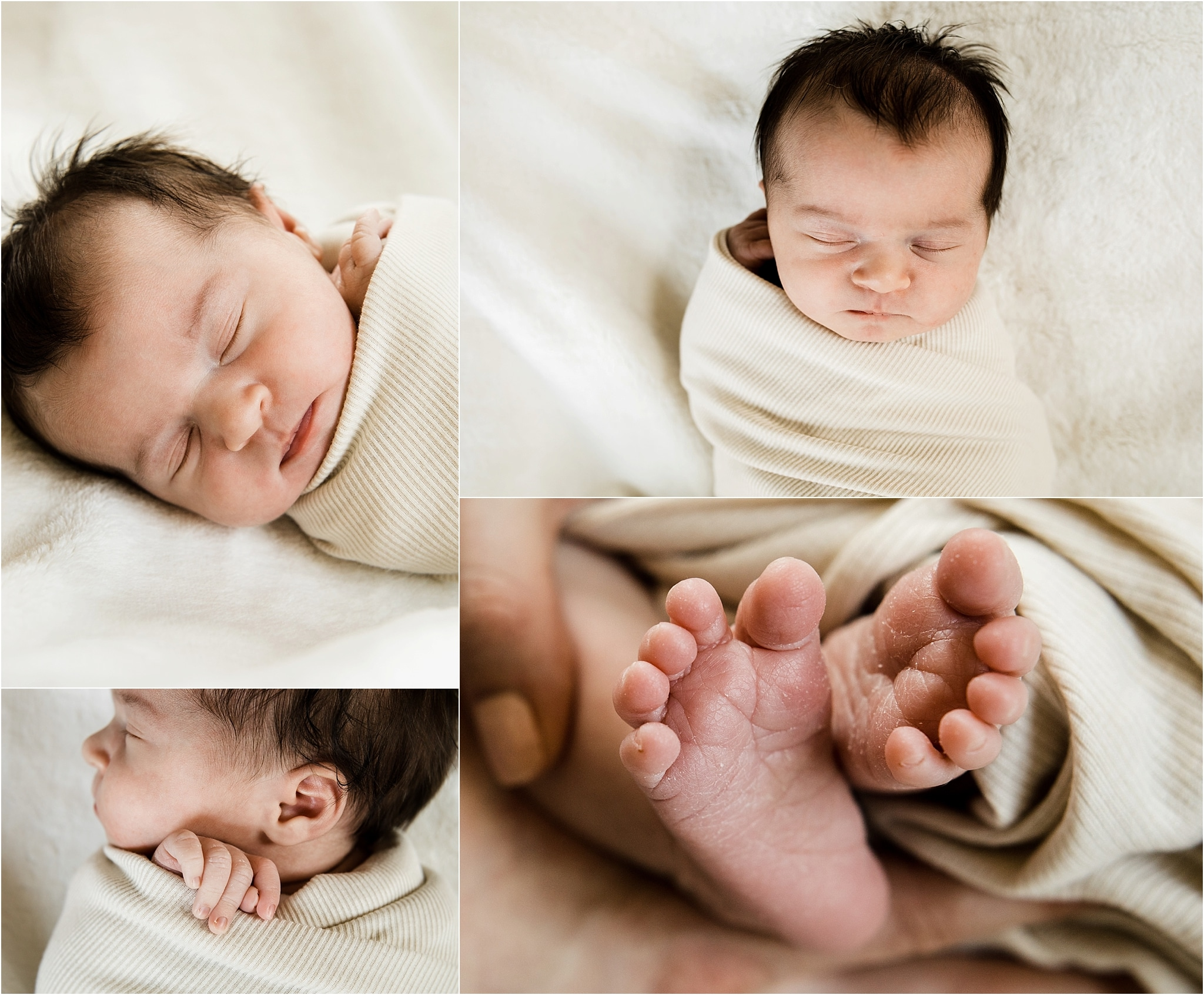 newborn detail photos with neutral swaddle