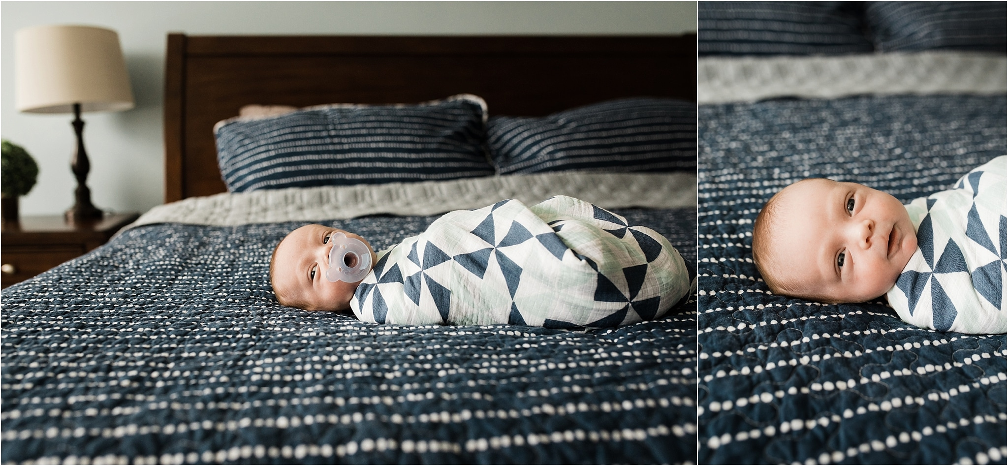 newborn boy with blue pacifier and pattern swaddle