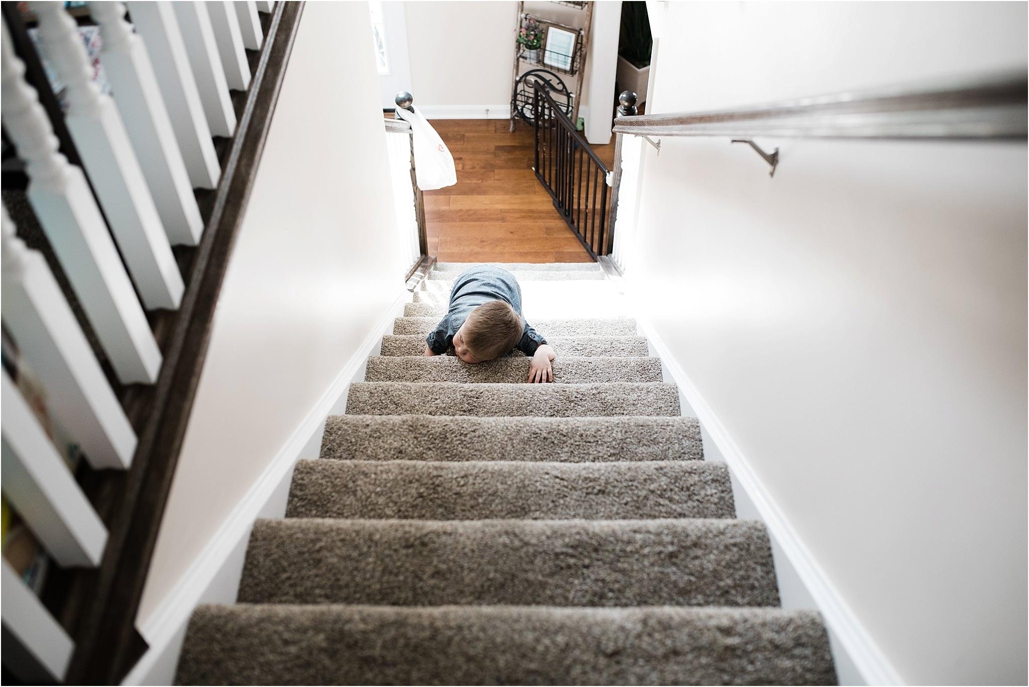 toddler climbing steps