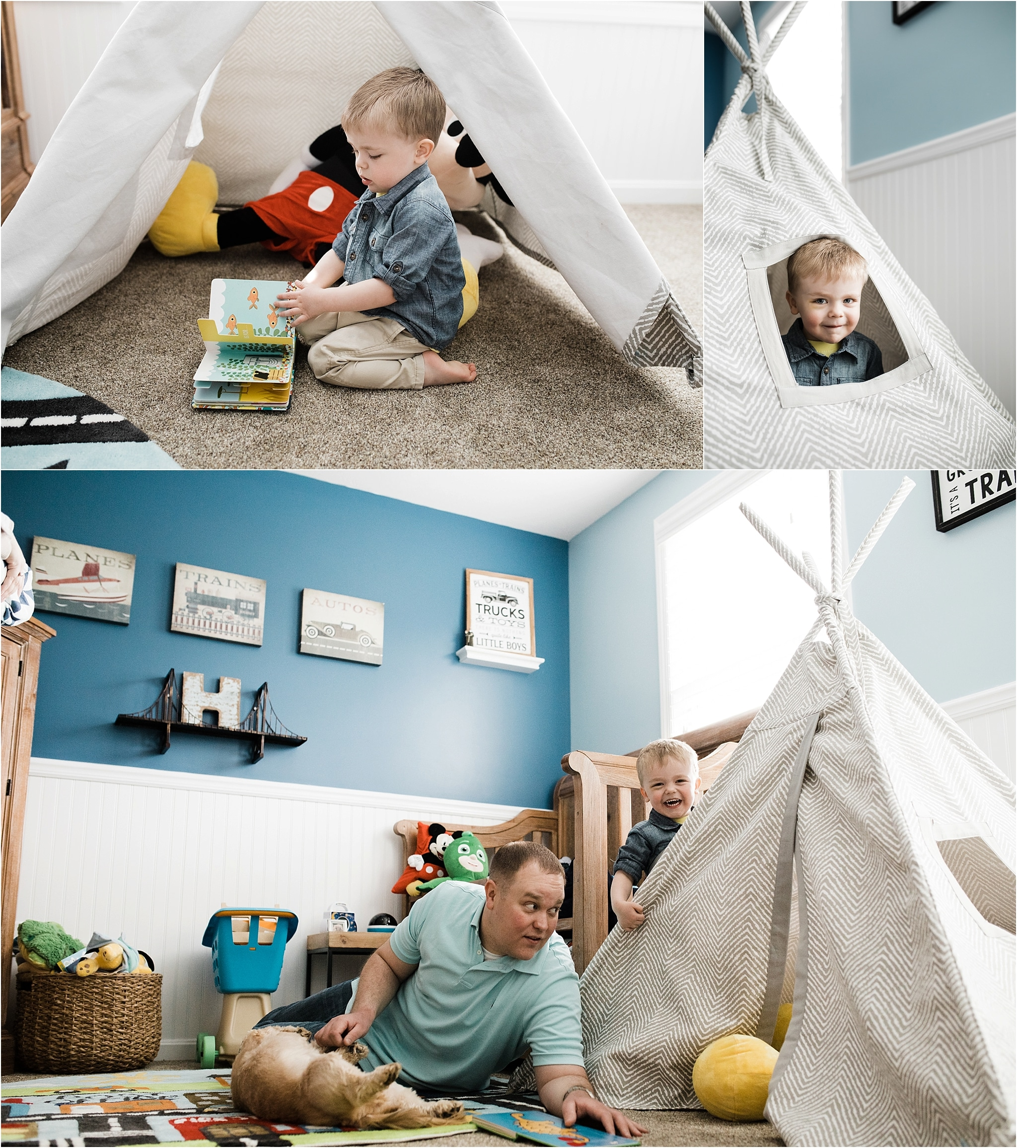 toddler reading booking and playing in teepee