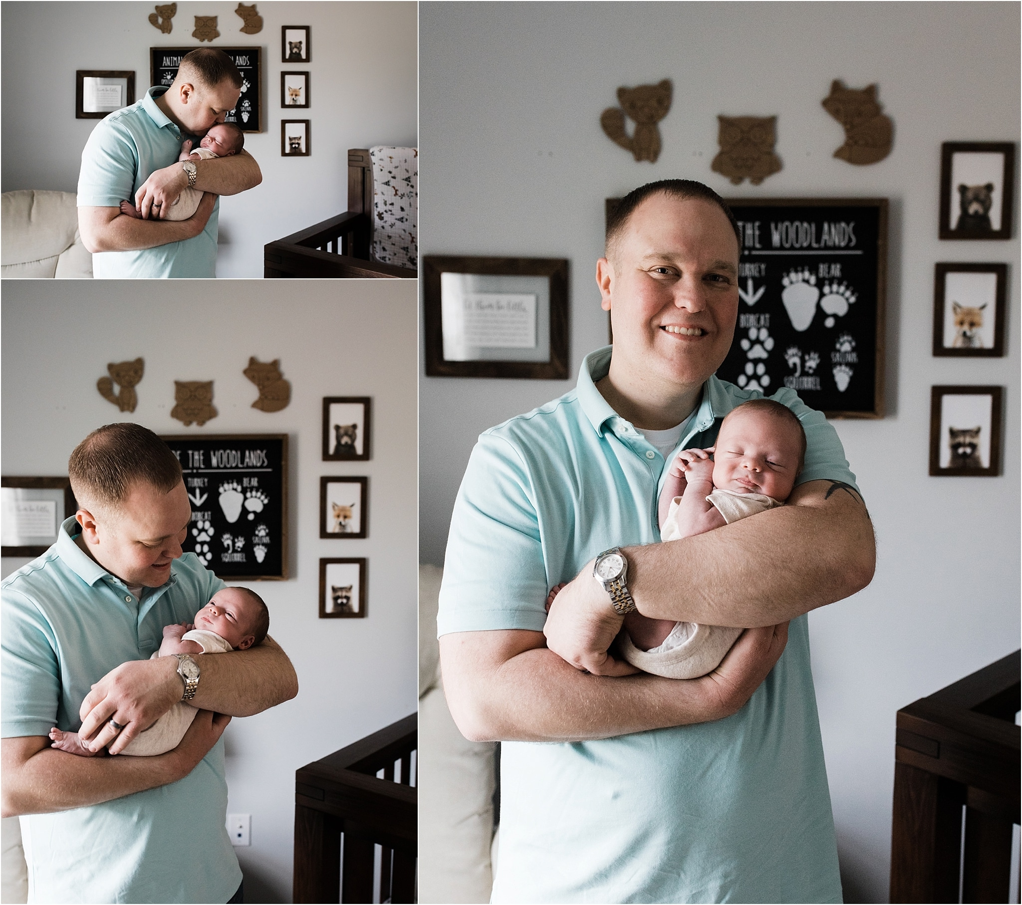 father holding newborn boy in outdoor themed nursery