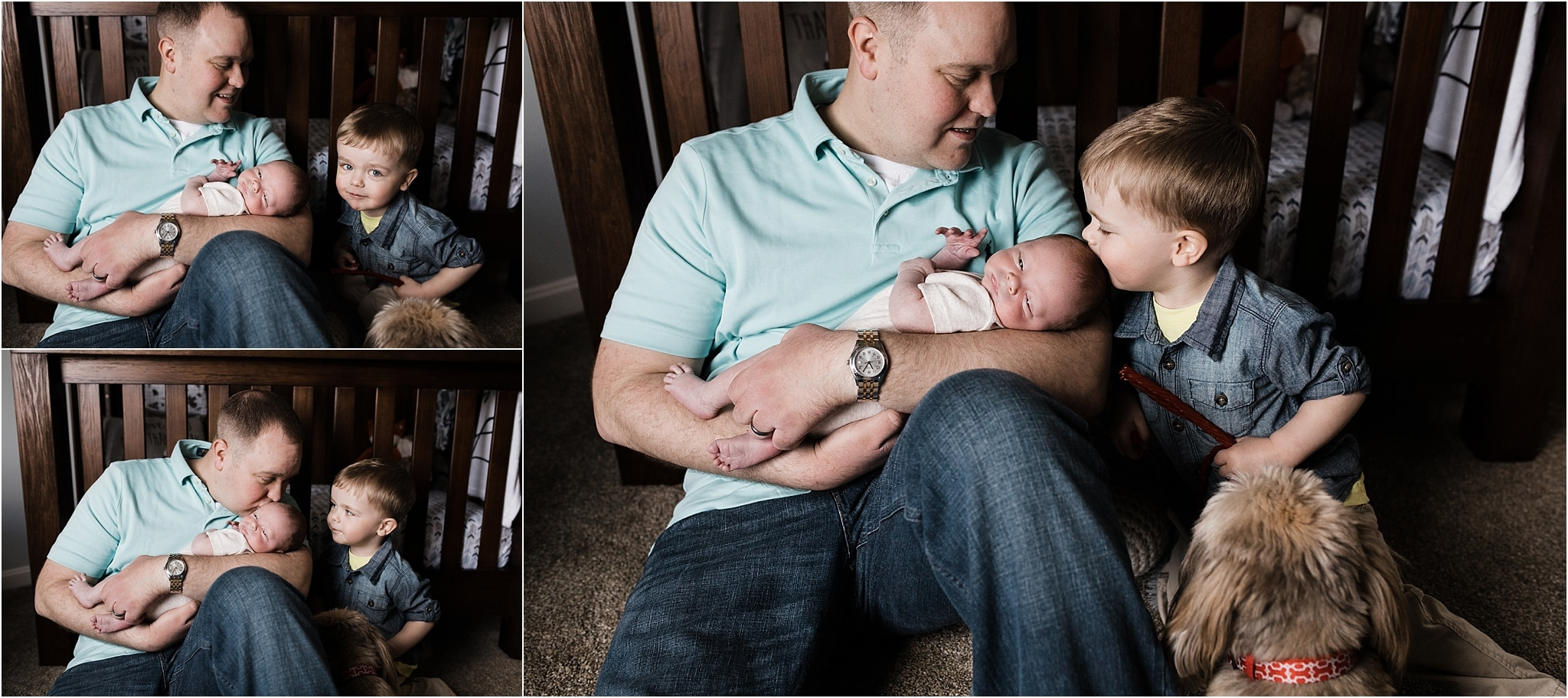 father and newborn boy and toddler boy photos at home