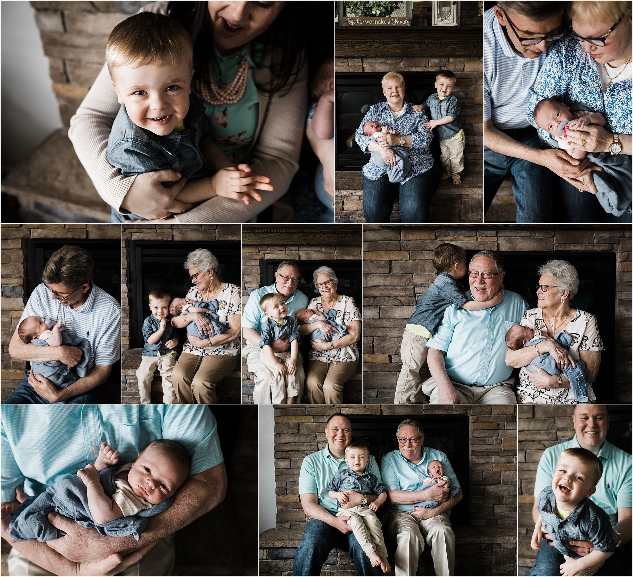 grandparents with grandchildren at home newborn session