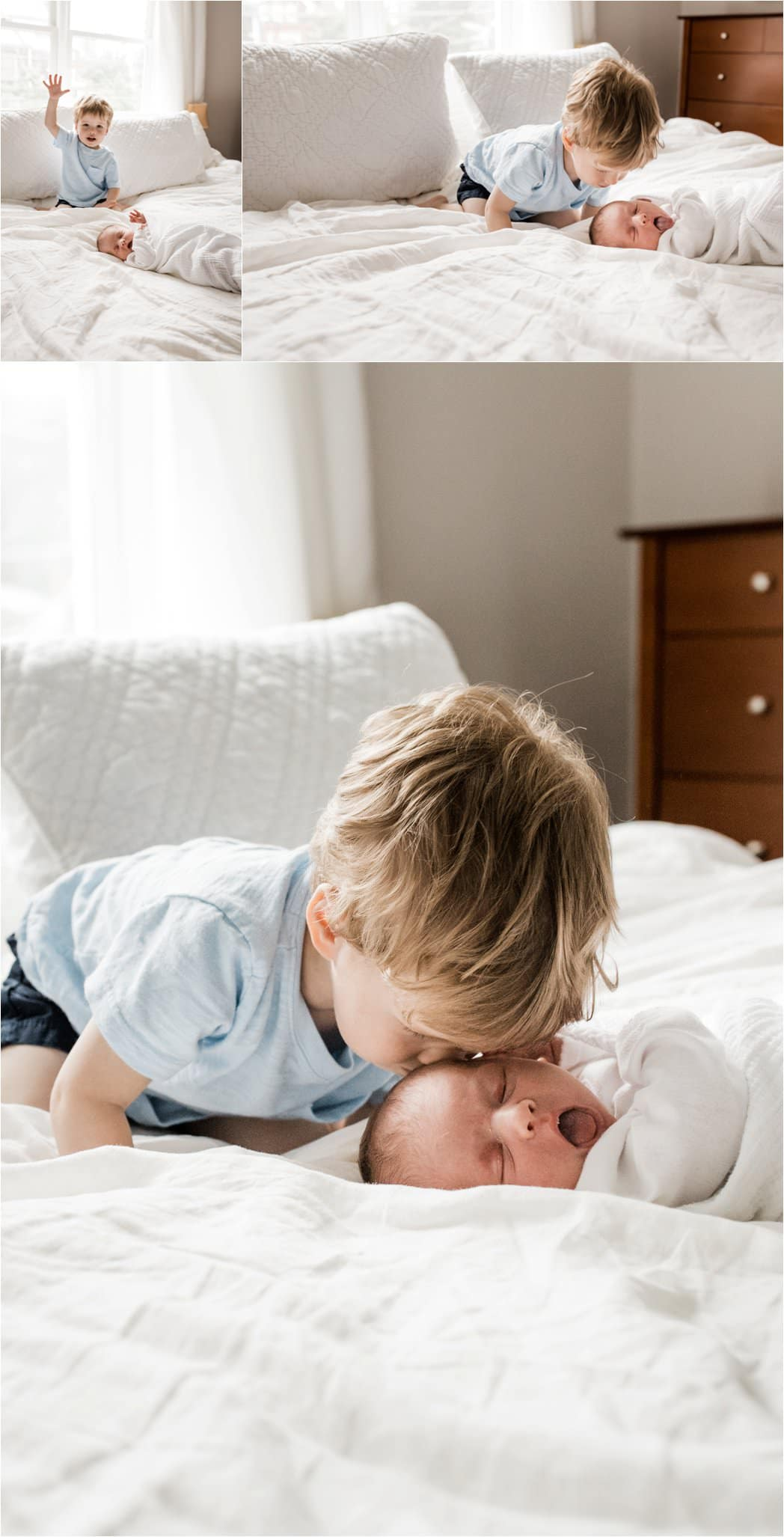 new big brother kissing newborn