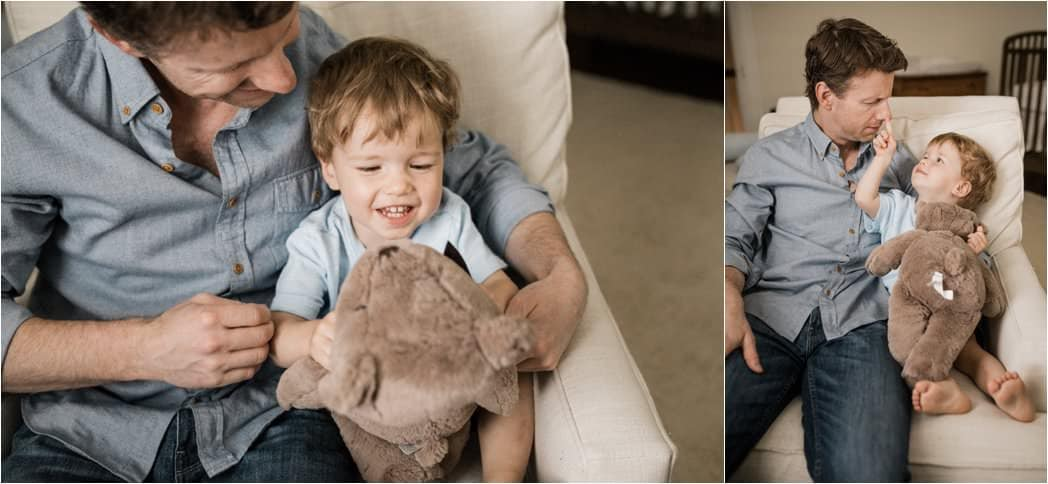 playful images of father and son during home newborn session