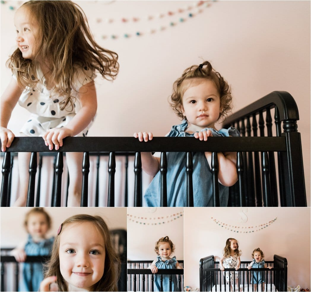 sisters being playful in crib
