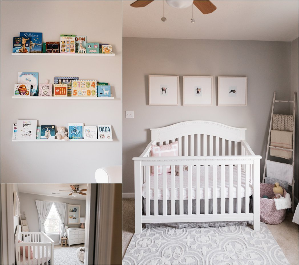 neutral nursery details book shelves and custom art
