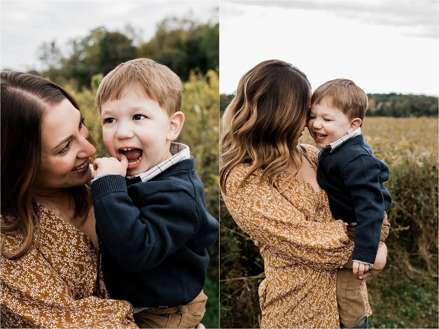 mother and son photos in open field