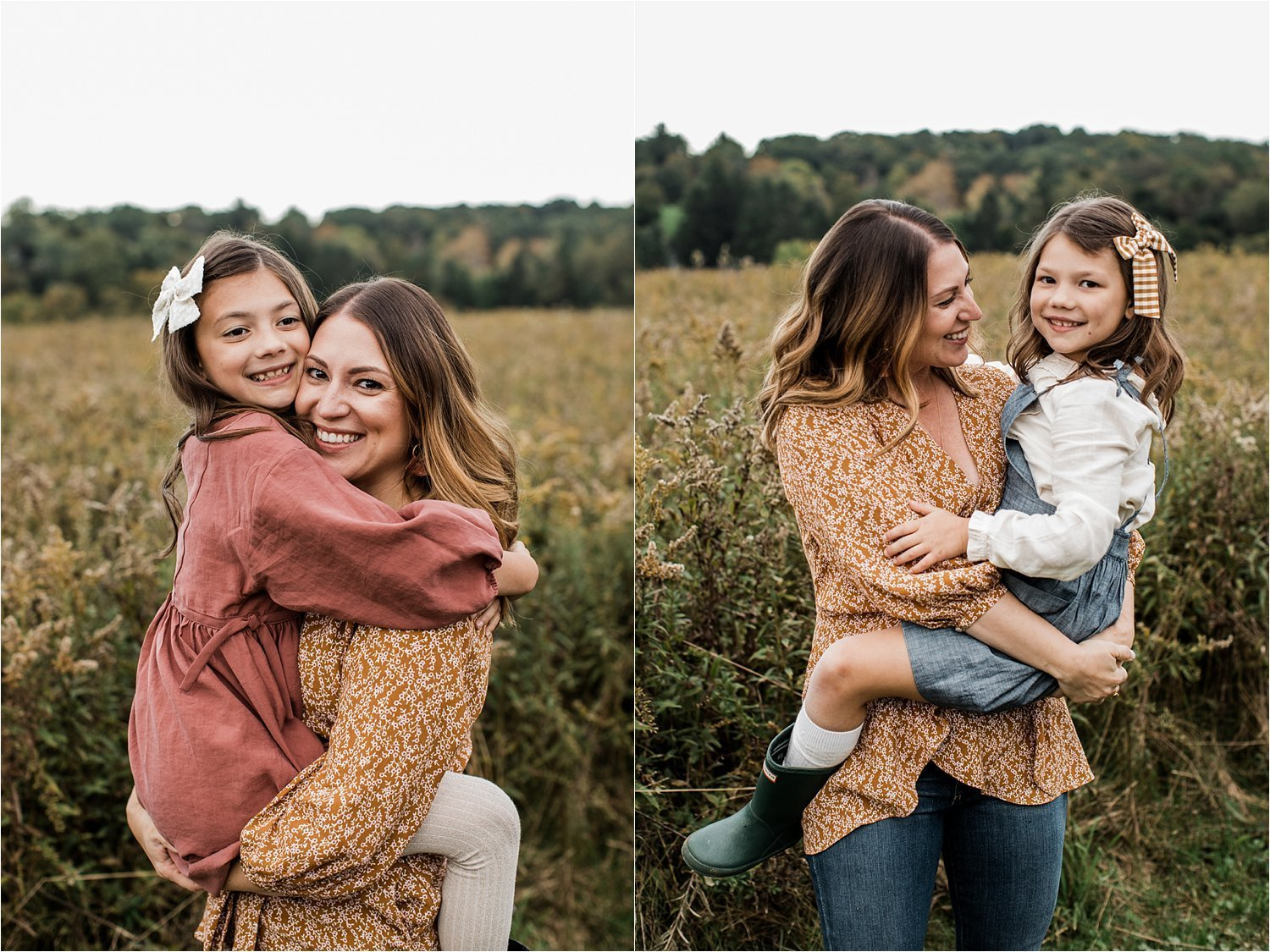 mother and daughter photos in open field