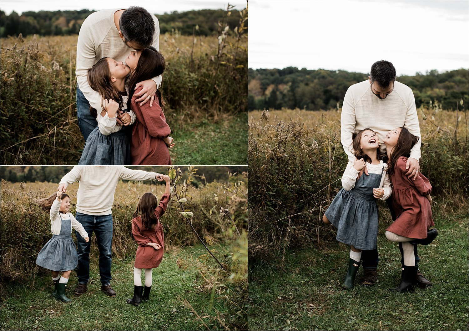 father and daughters dancing and hugging in open field