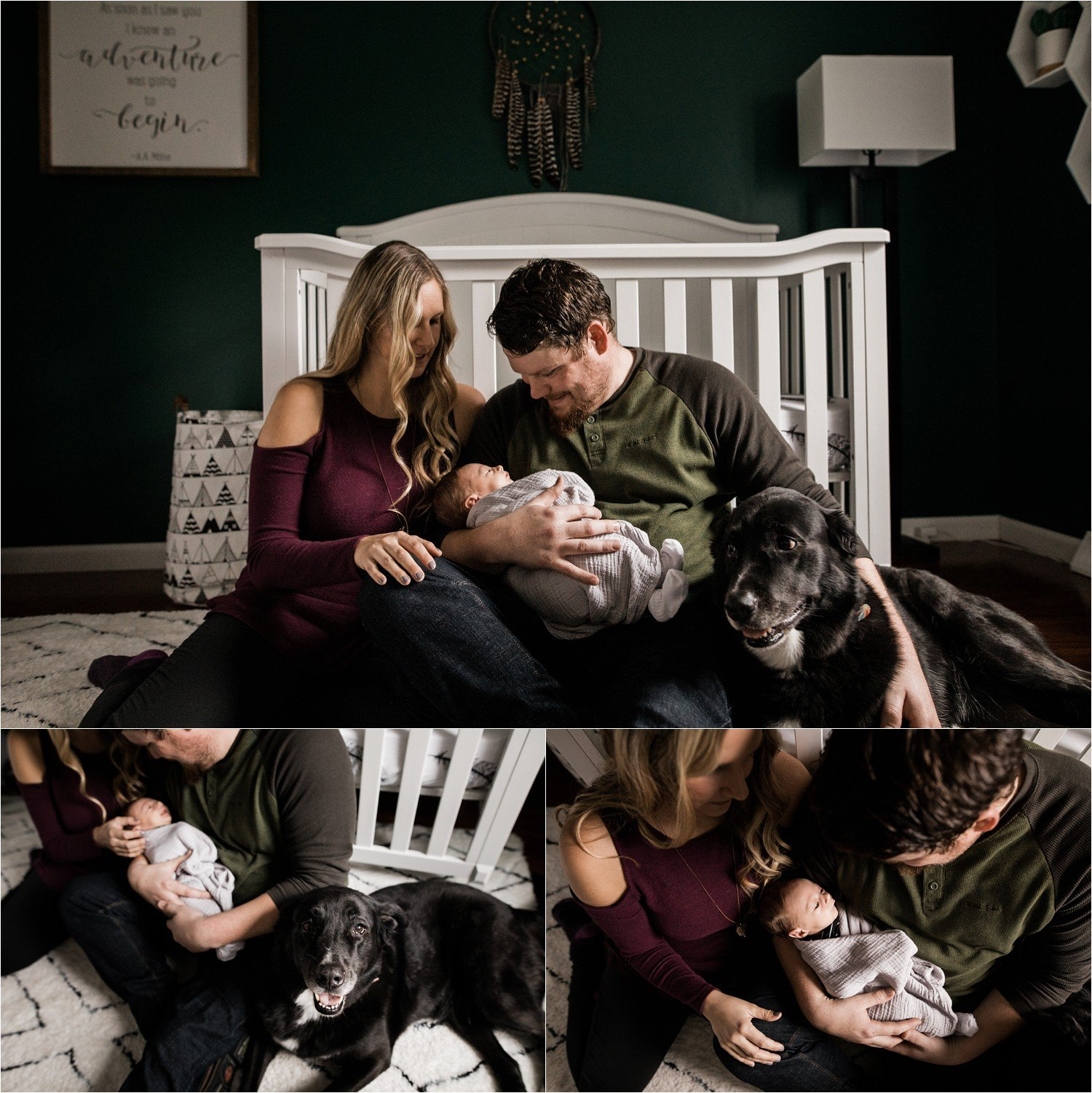 cozy family images with black lab during newborn session at home