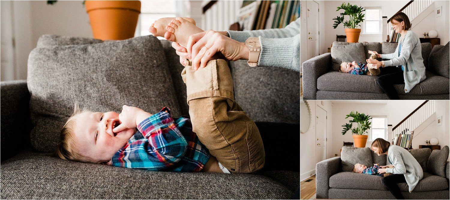 natural and playful images of mother and son at home in living room