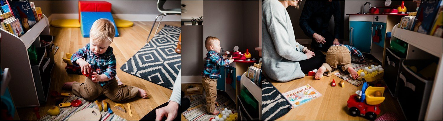 playful family photos at home