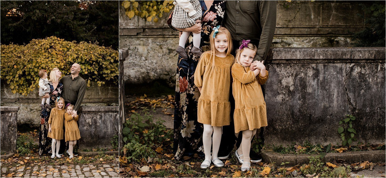 Floral rent the runway dress and mustard green wardrobe pallet or fall family session