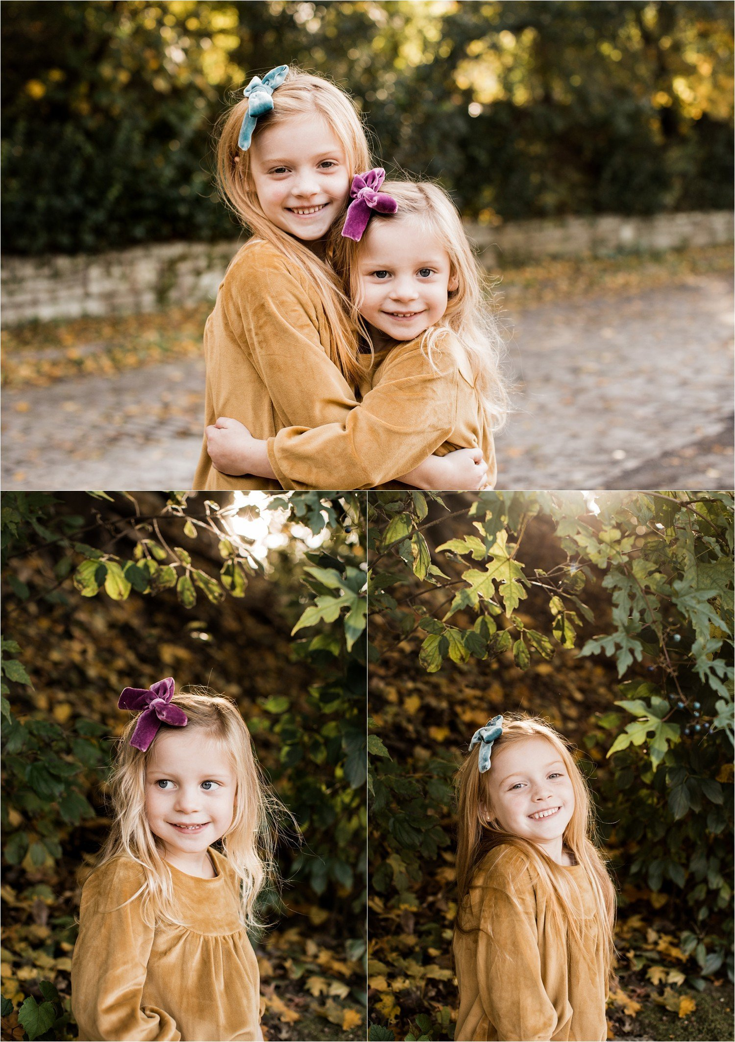 sisters in mustard dresses and velvet bows for family photo session