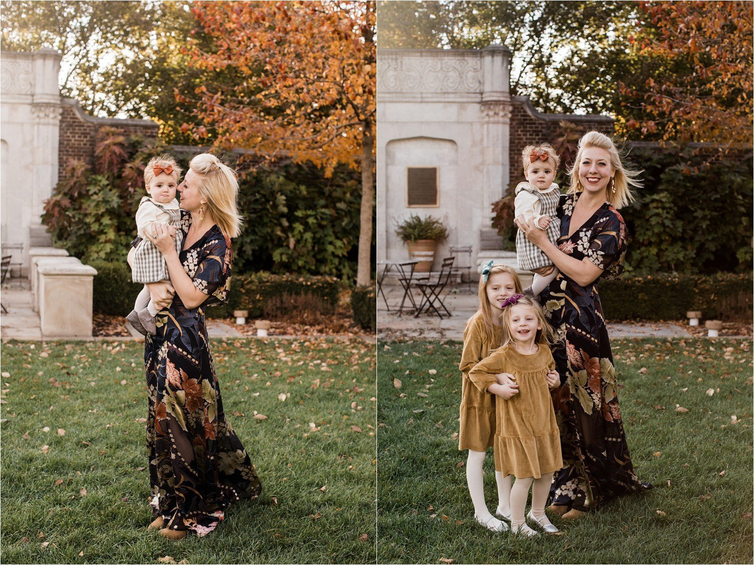 mother and daughter photos in fall light