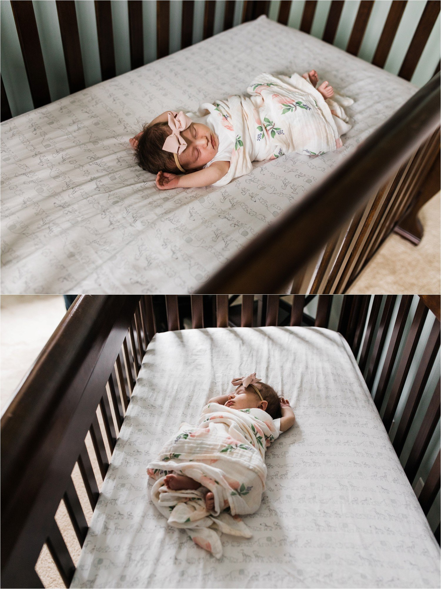 newborn baby sleeping in crib