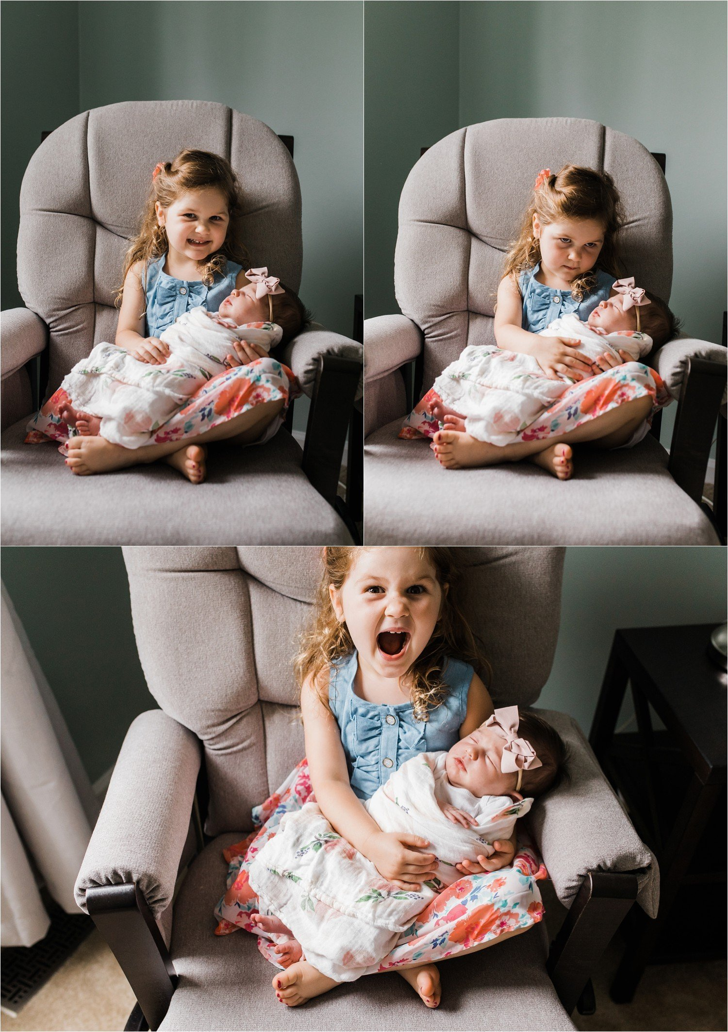 photos of a big sister excited to hold her new baby sister