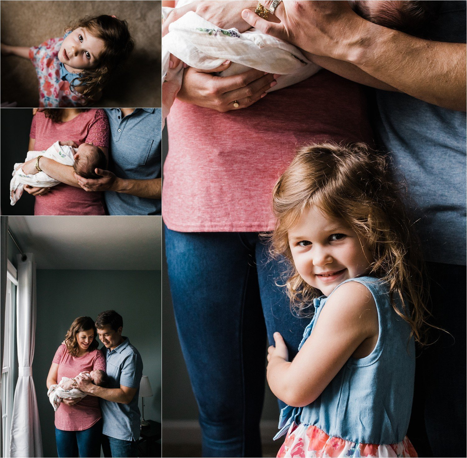 candid photos of a family being together with newborn baby