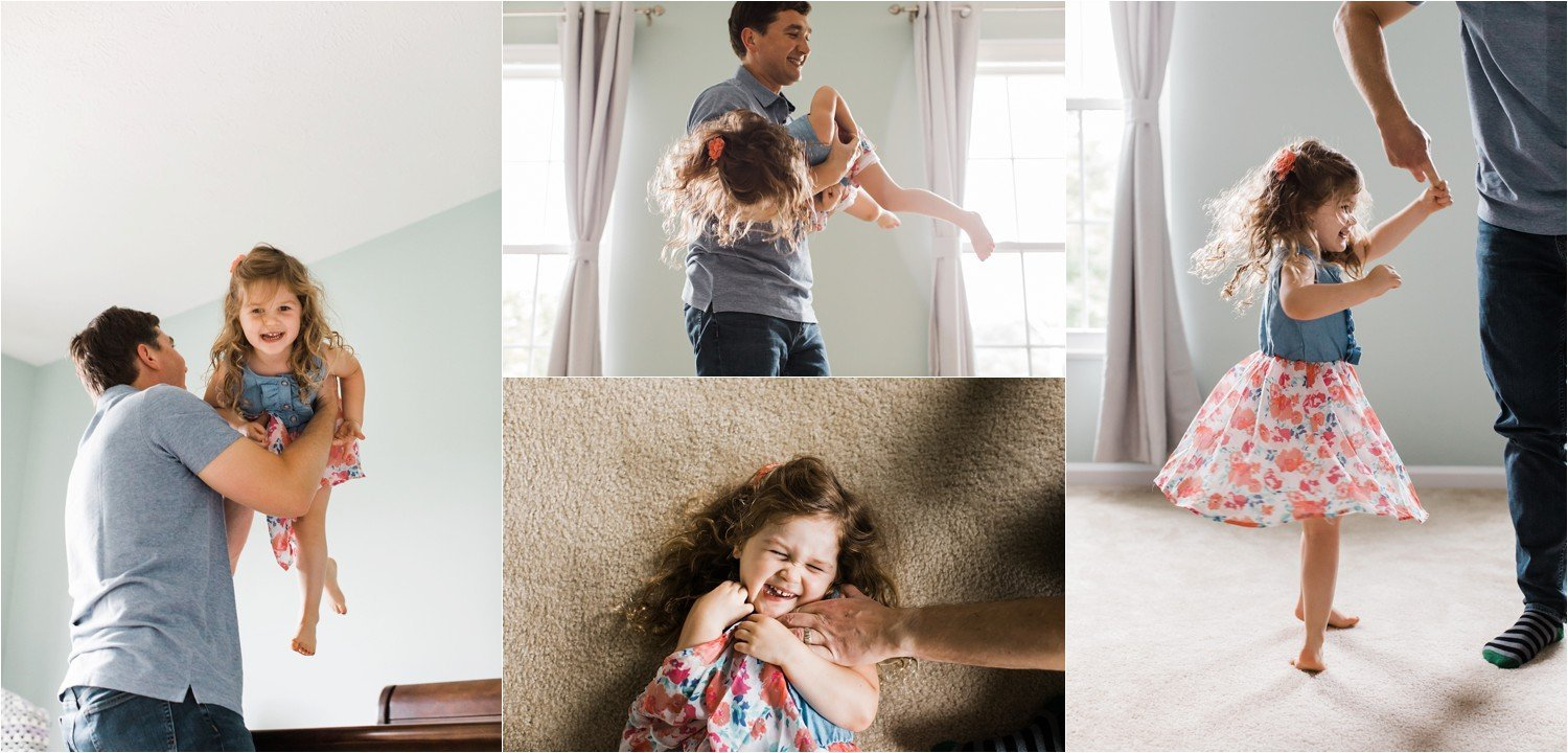 natural and realistic photos of father and daughter at home