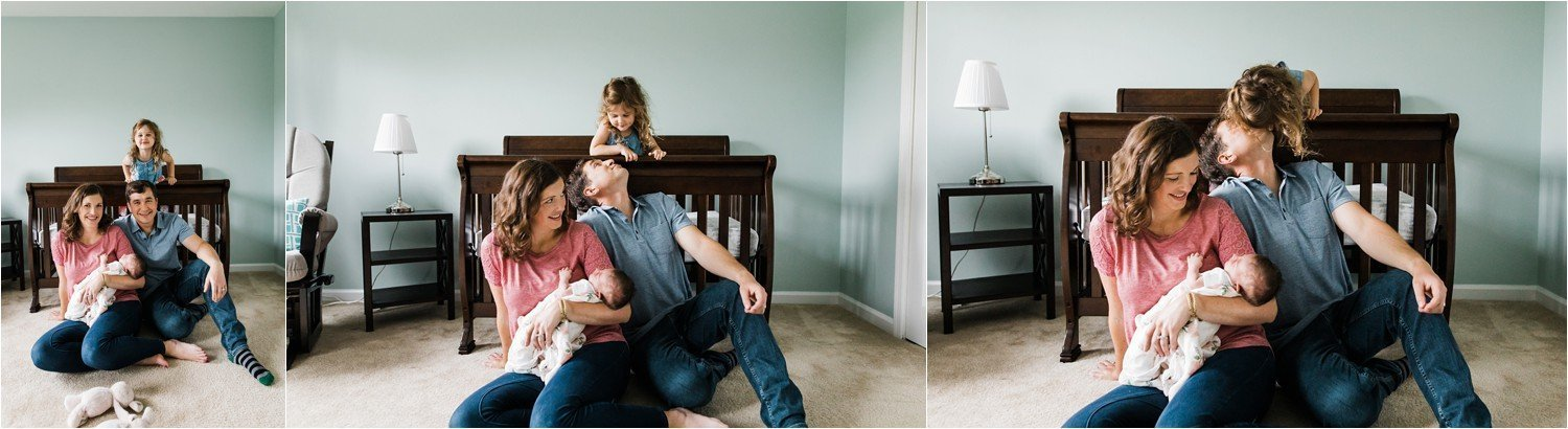 casual family photos at home with newborn