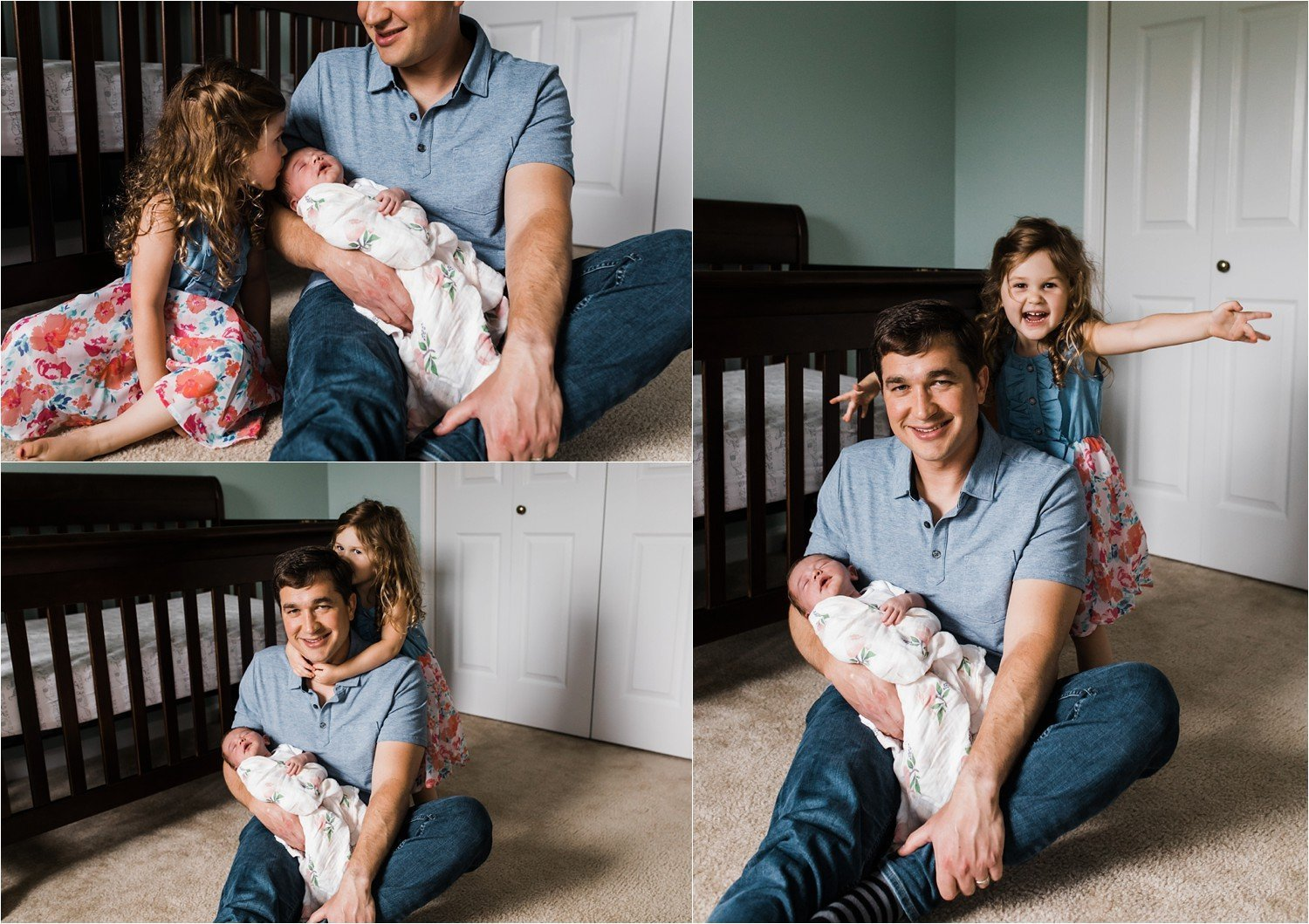 father and daughter and newborn photos