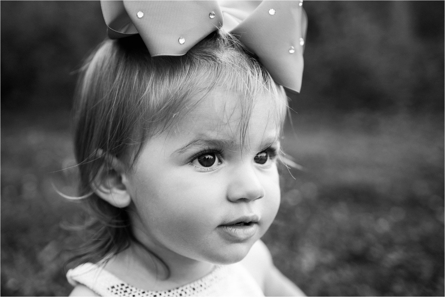 black and white toddler girl portrait