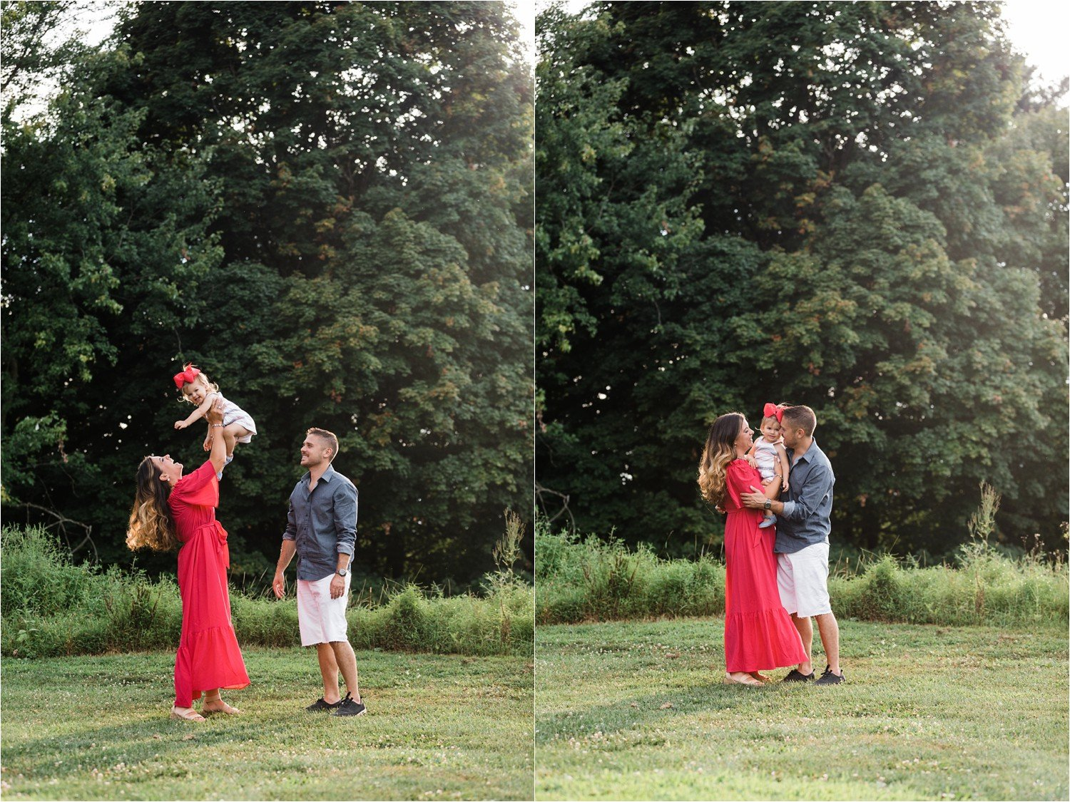 fun family photos in open field in sewickley pa