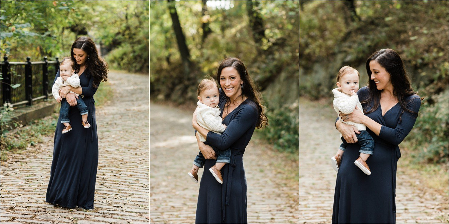 mother holding 6 month old son series of photos