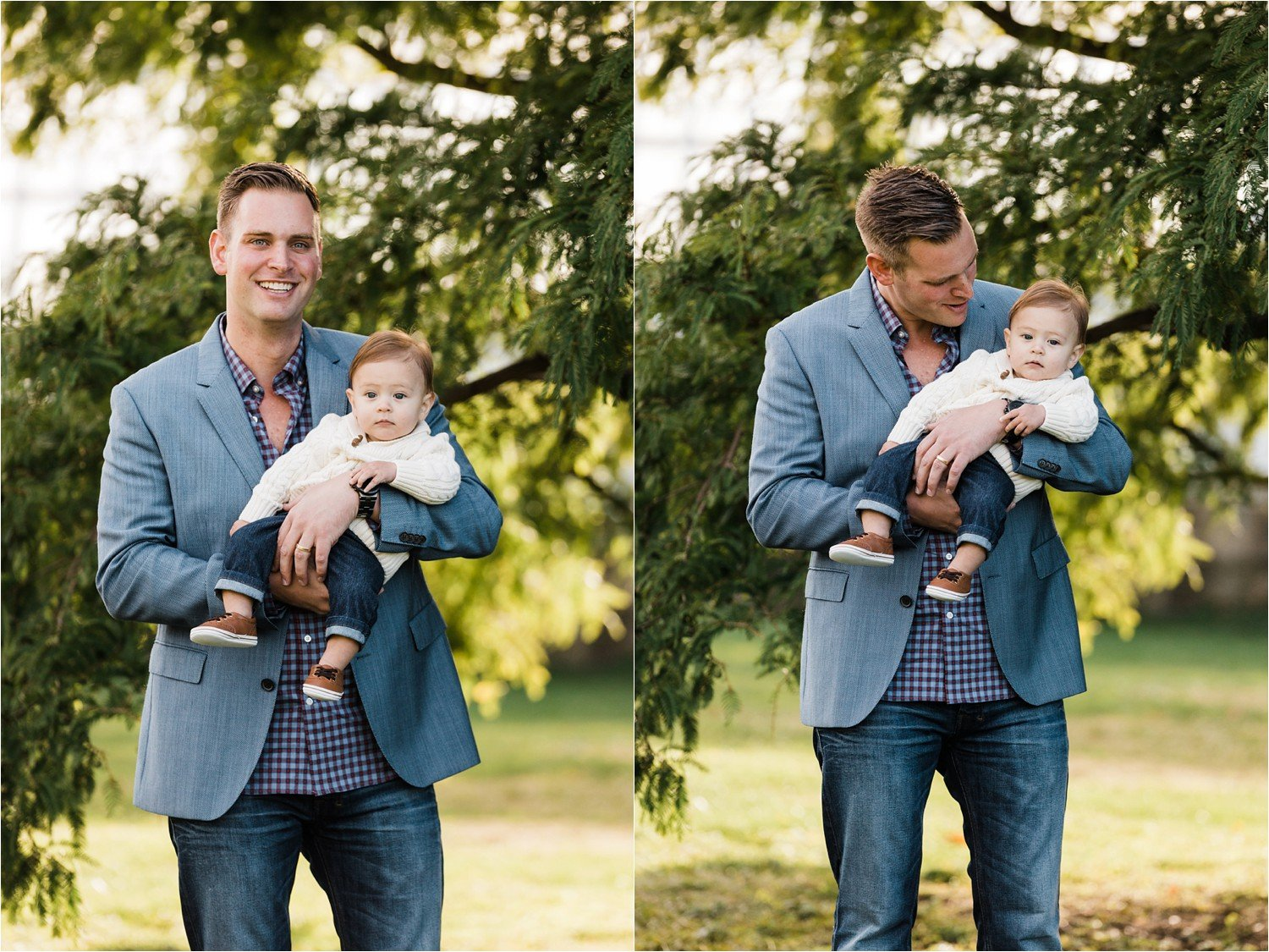 precious father and 6 month old son images outside Phipps Conservancy