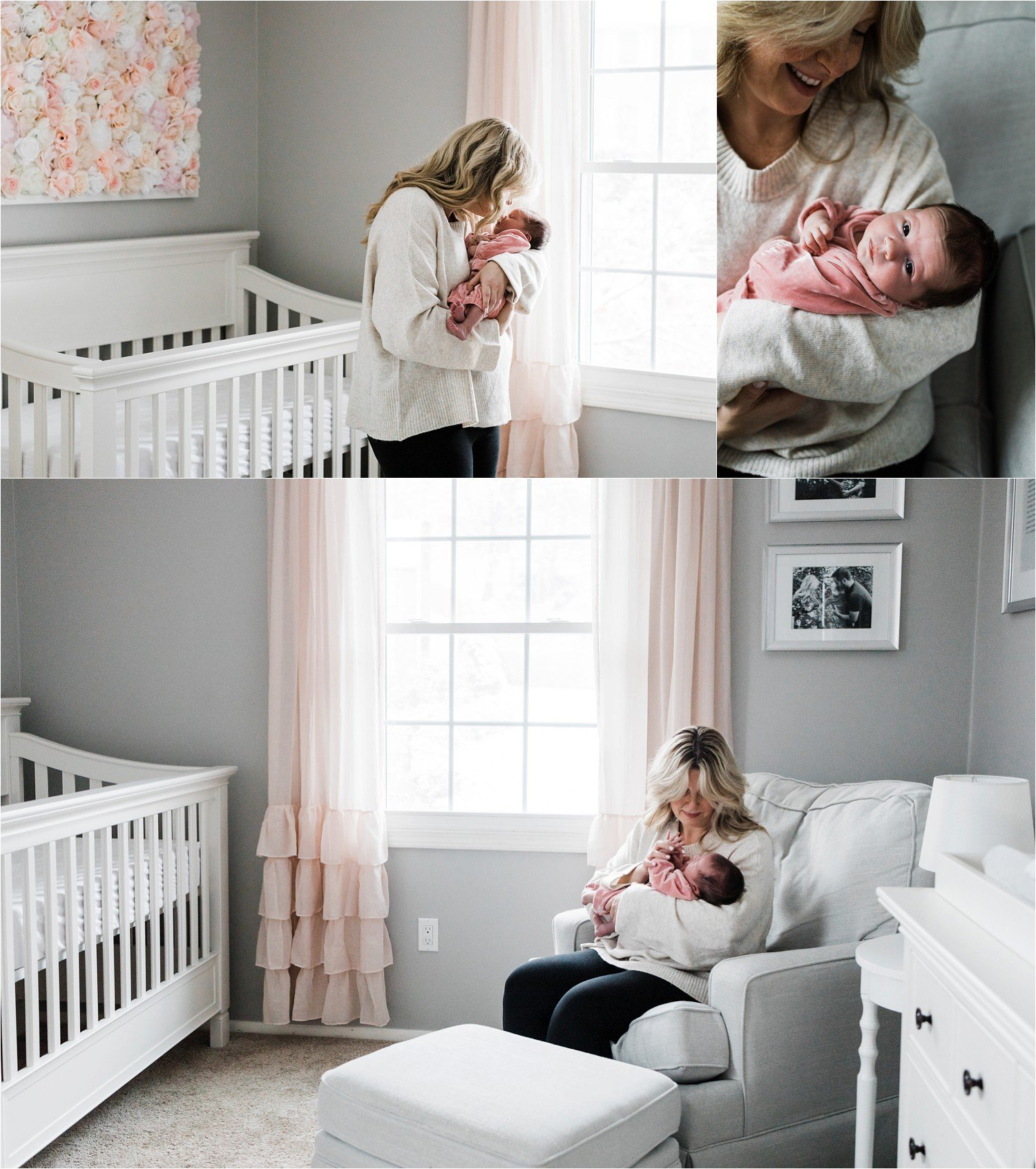 mother and newborn daughter in home nursery gray and pink
