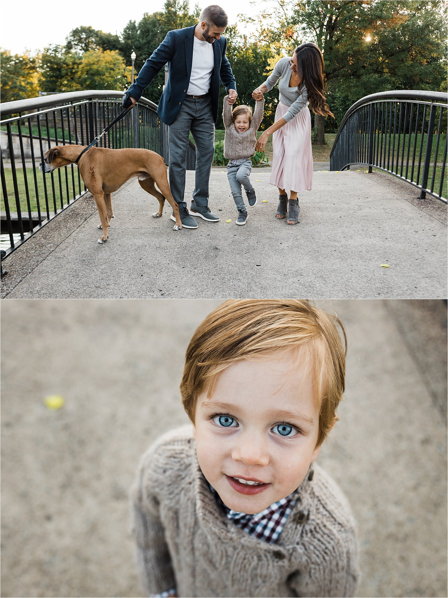 natural family photos with dog and small child