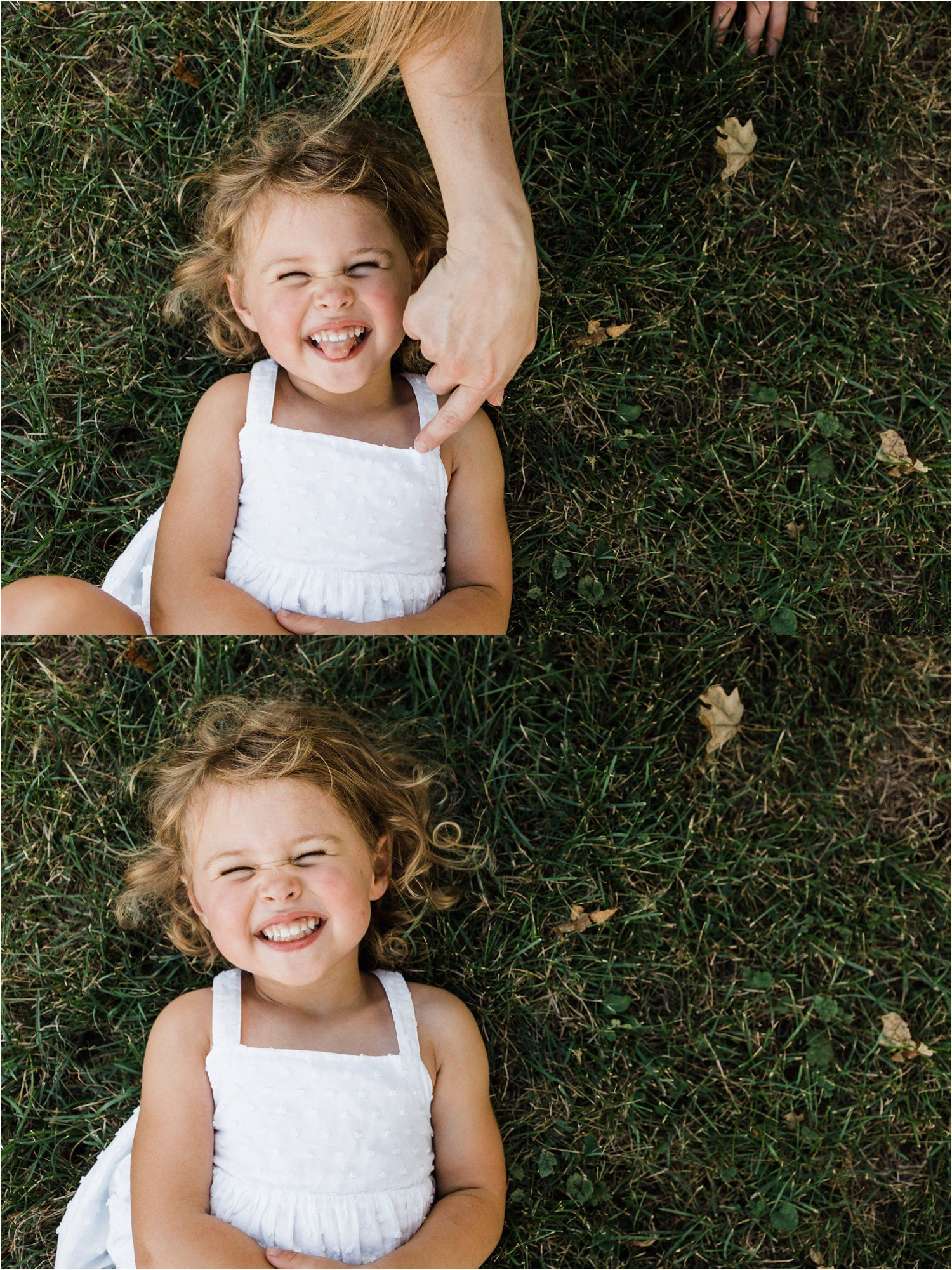child laughing in the grass