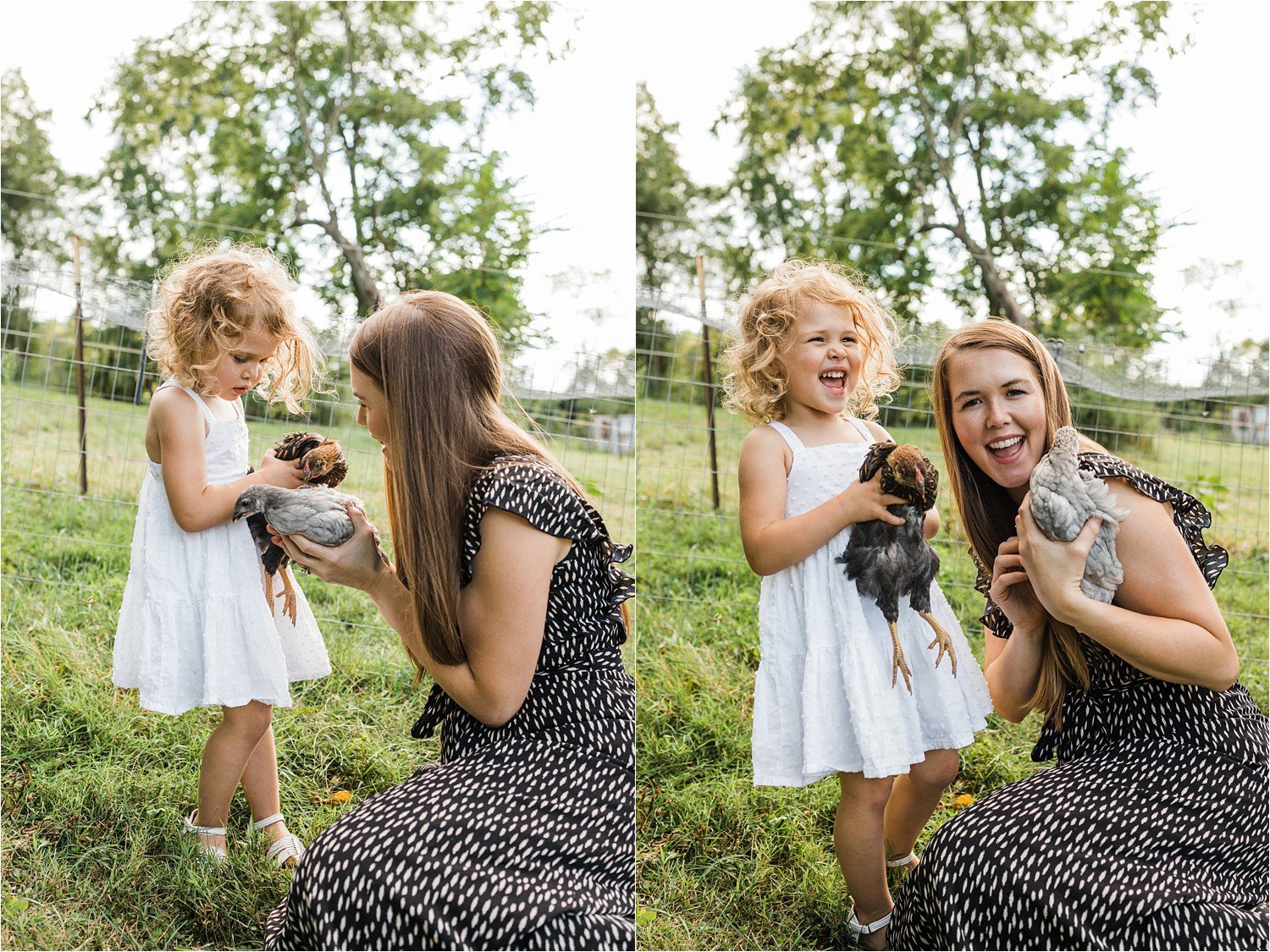 mother and daughter holding chickens on family land