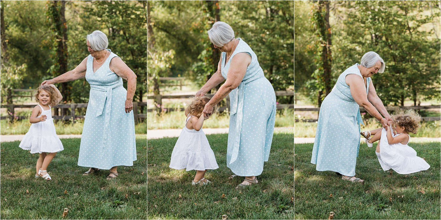 little girl dancing with her grandmother
