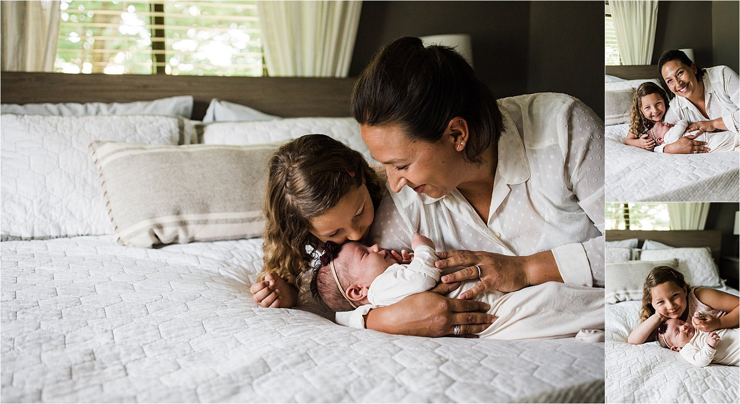 mom and daughter with newborn baby girl