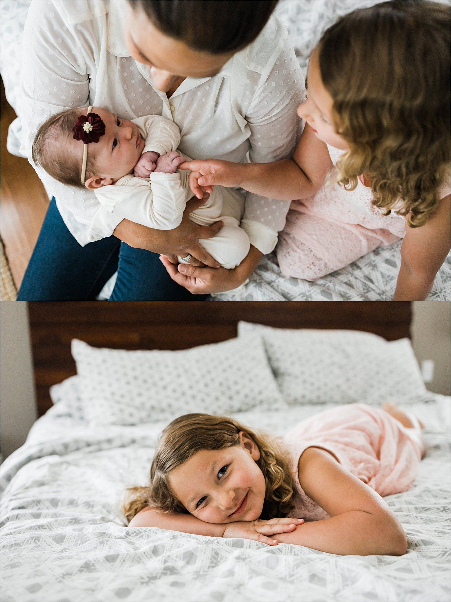 natural photos of mother and 2 daughters at newborn session