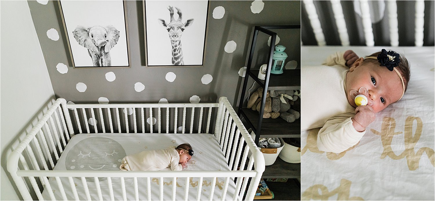 tummy time and pacifier photos in nursery during in home newborn session
