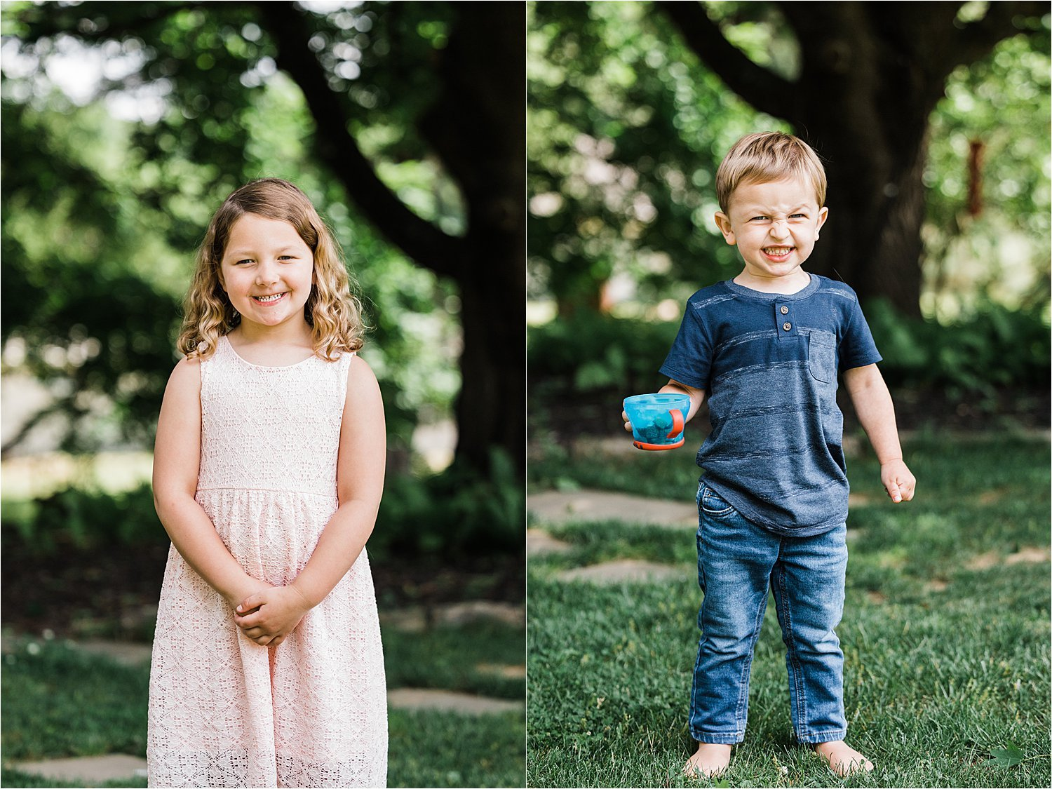 big sibling outdoor portraits at home newborn session