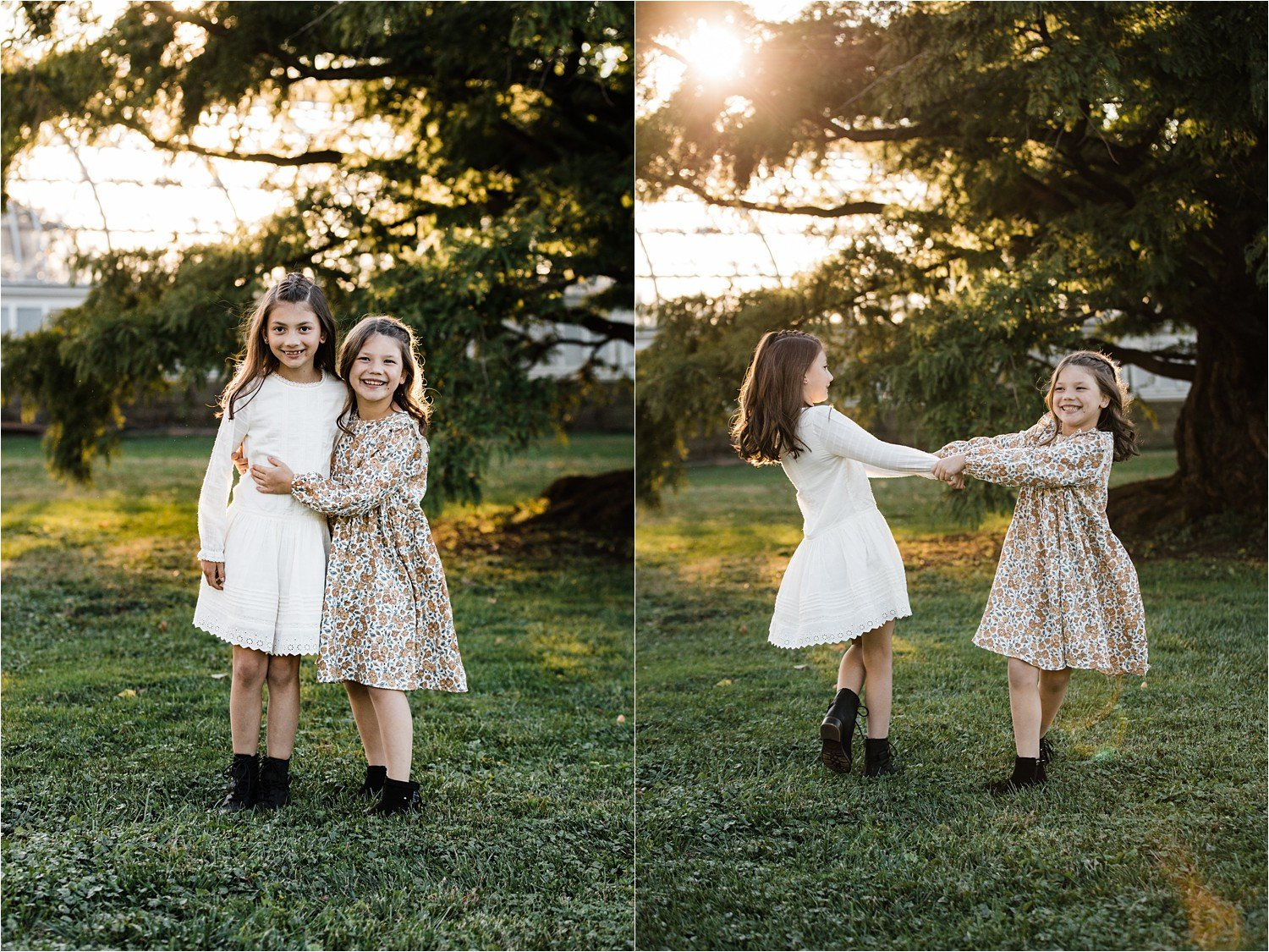 sweet sister images hugging and twirling in the sunset
