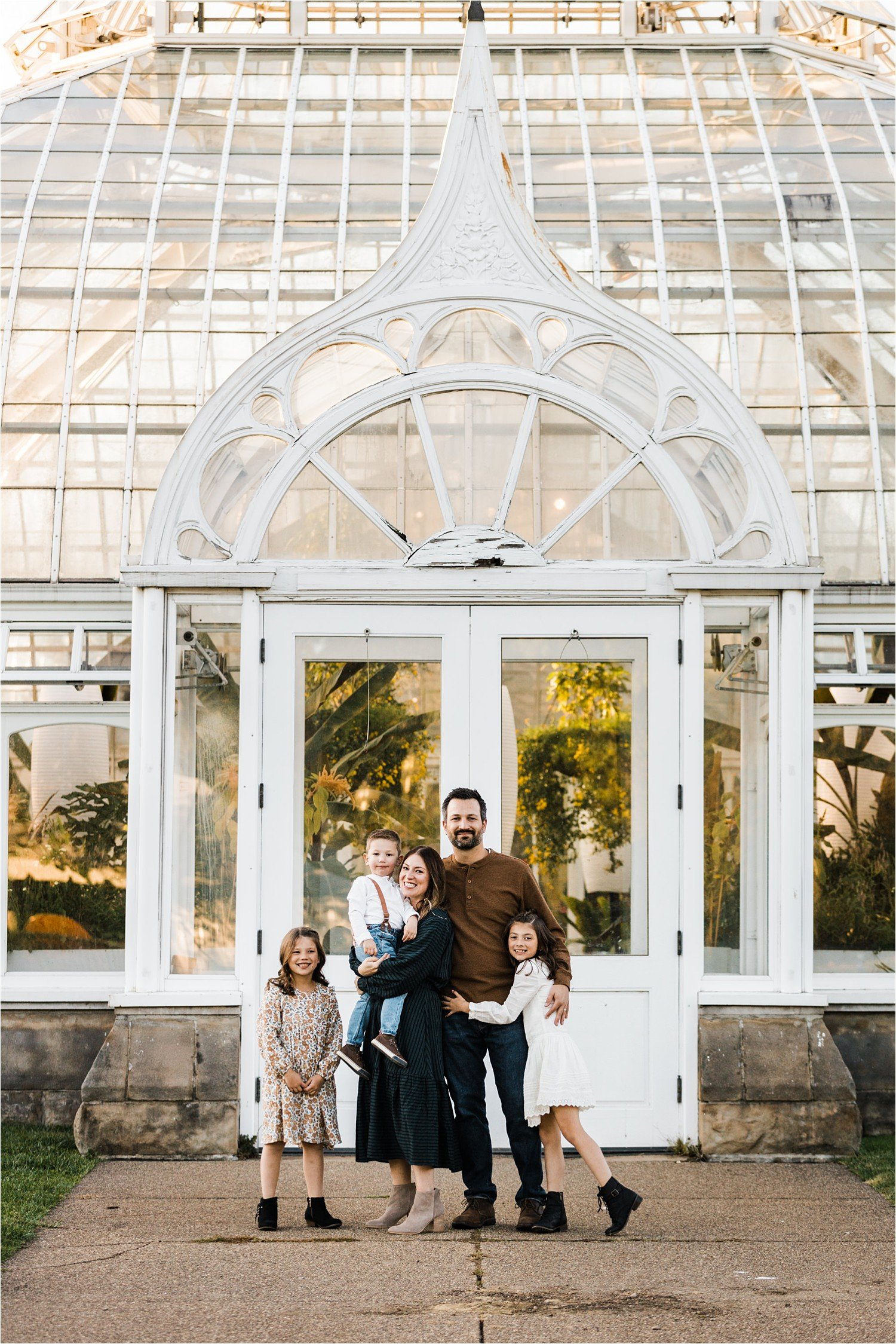family photo outside Phipps conservatory and Botanical Gardens